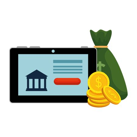 tablet with bank building and money icons vector illustration design