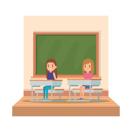 little students girls in school desk on the classroom vector illustration design 일러스트