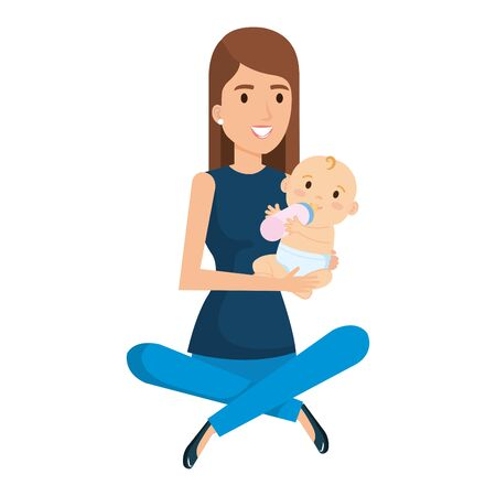 mother lifting little baby character vector illustration design Standard-Bild - 125486637