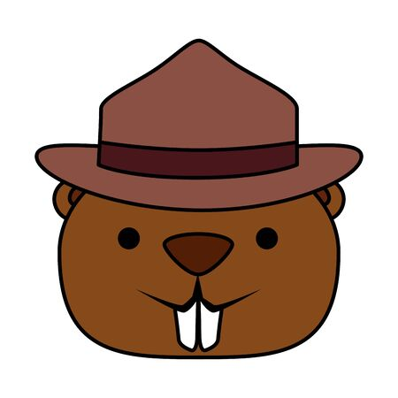 cute beaver with ranger hat mascot animal vector illustration design Foto de archivo - 125511794