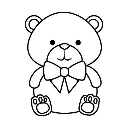 süßer kleiner Bären-Teddy mit Fliege-Vektor-Illustration-Design
