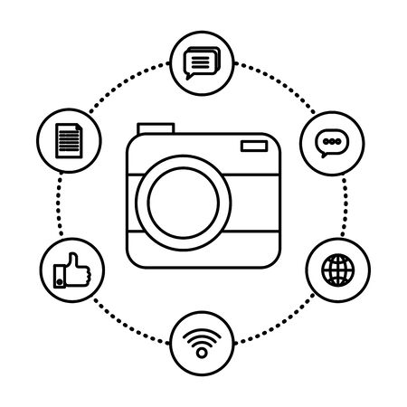 camera photographic with social media icons vector illustration design