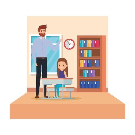 male teacher and girl seated in desk in classroom vector illustration design