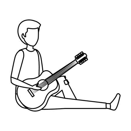 young man playing guitar instrument vector illustration design Stok Fotoğraf - 125533320