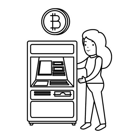 woman with atm bitcoin machine vector illustration design
