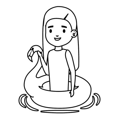 cute little girl lady with flemish float vector illustration design