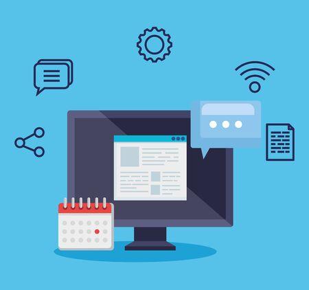 Tecnología informática con burbuja de chat e información de documentos con ilustración de vector de calendario Ilustración de vector