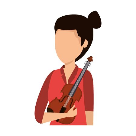 female professional violinist character vector illustration design