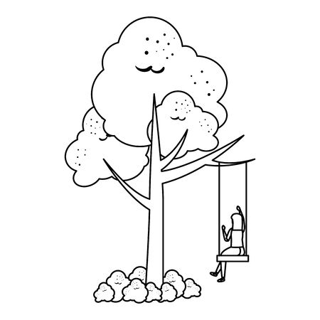 woman on the tree swing scene vector illustration design