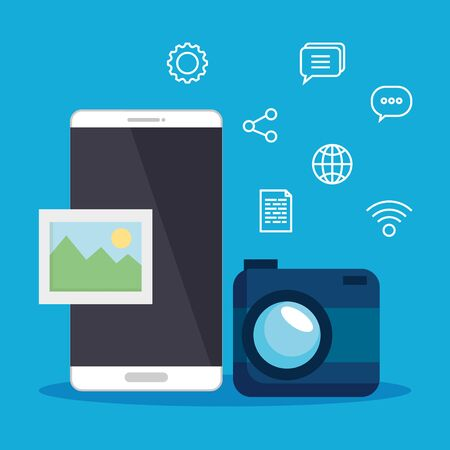 smartphone technology with digital camera and photo vector illustration