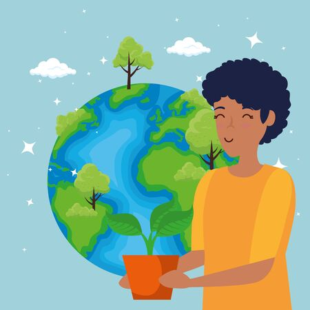 planet with trees and woman with plant conservation vector illustration Çizim