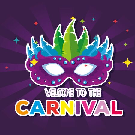 traditional mask with feathers decoration to carnival celebration vector illustration