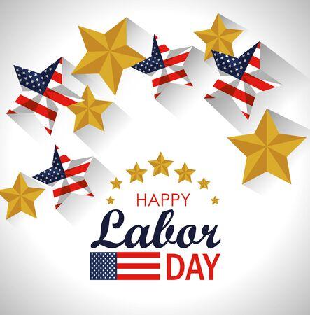 labor day celebration with usa flag stars vector illustration Çizim