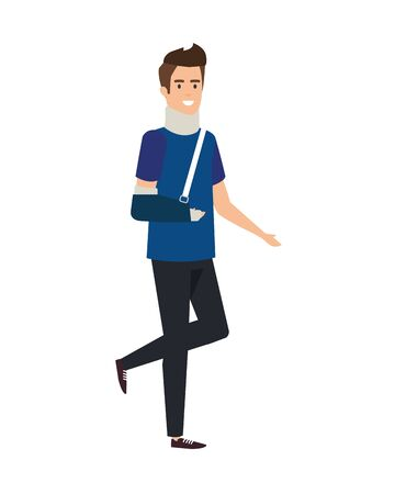 man with orthopedic collar and plastered arm vector illustration design