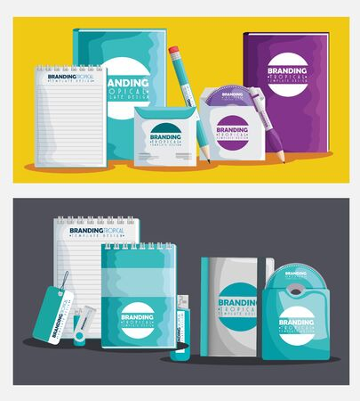 set of branding product how notebooks and cd with usb memory vector illustration