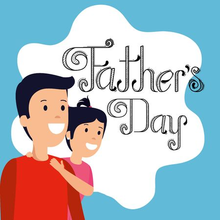 man with his girl to fathers day celebration vector illustration