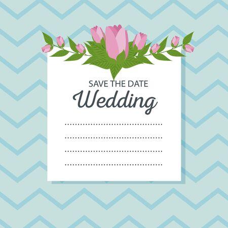 roses decoration to weadding card event vector illustration Illustration