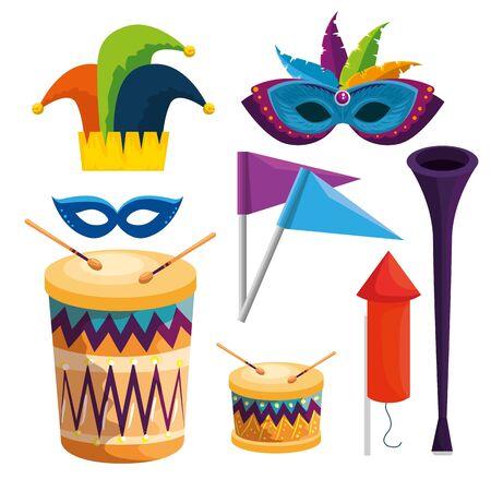 Conjunto de decoración de la tradición del carnaval para la celebración del festival ilustración vectorial