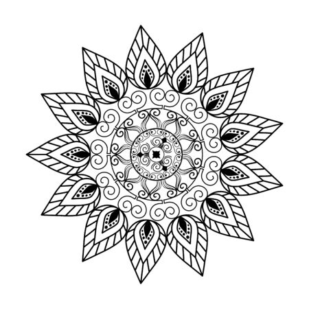 monochrome mandala victorian style vector illustartion design Illustration