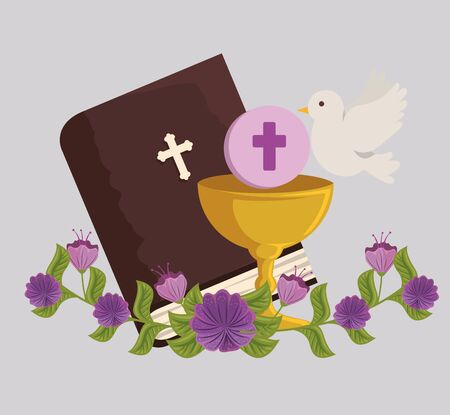 bible and chalice with holy host to first communion vector illustration