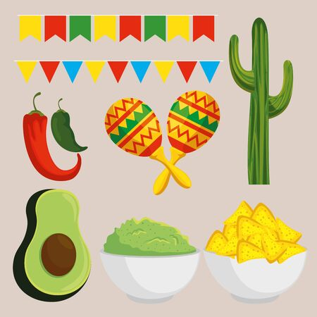 set mexico tradition holiday event vector illustration