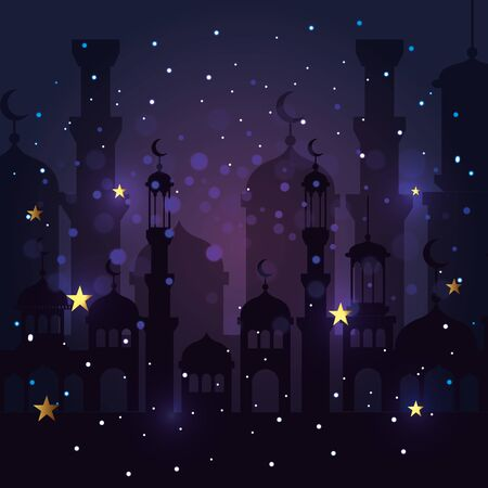castle with stars and moons decoration to celebration vector illustration Illustration