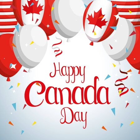 canada flag balloons to event celebration vector illustration