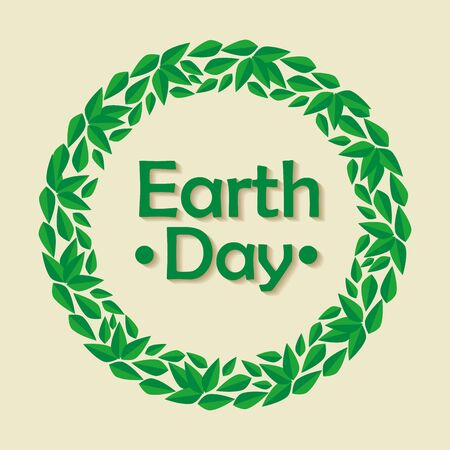 ecology label with leaves to earth day vector illustration