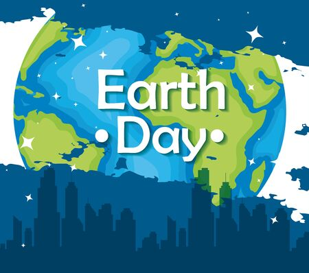 planet with city building to earth day vector illustration Çizim