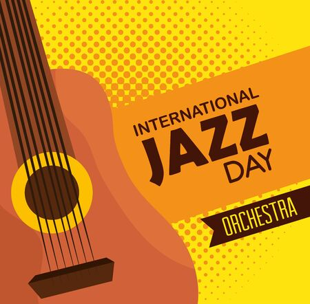guitar instrument to international jazz festival vector illustration