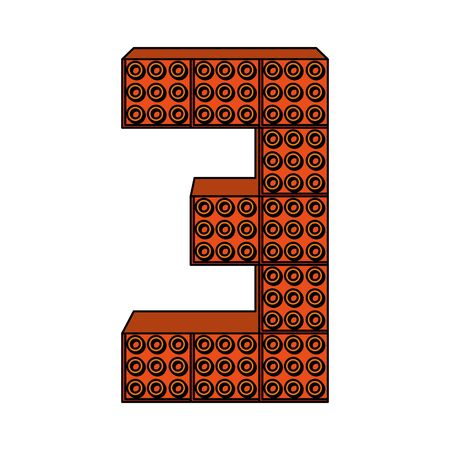 number three with toy pieces vector illustration design 向量圖像