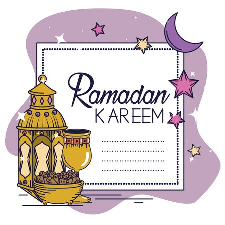ramadan kareem card with lamp and chalice vector illustration