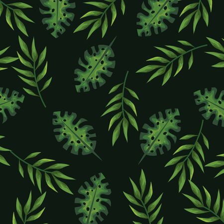 natural branches plant with exotic leaves background vector ilustration