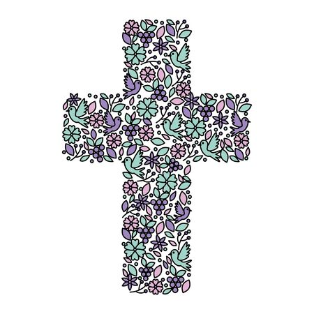 Erstkommunion Kreuz Blumendekoration Vektor-Illustration Design Vektorgrafik