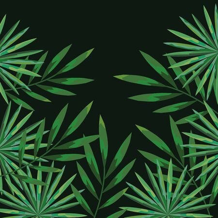 natural branches leaves plants background vector illustration