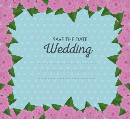 wedding card border with flowers and leaves decoration vector illustration