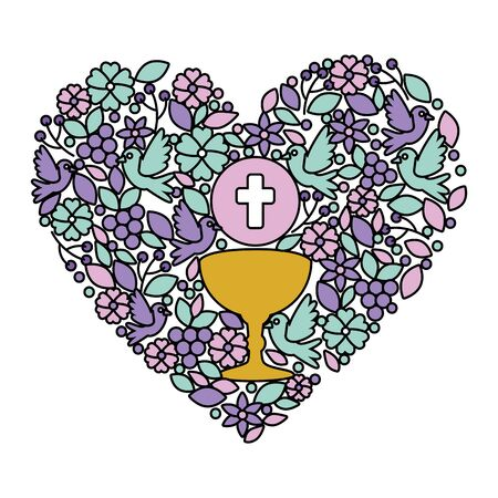 first communion in chalice with floral heart decoration vector illustration design Çizim