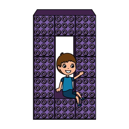 little boy number zero and toy pieces vector illustration design