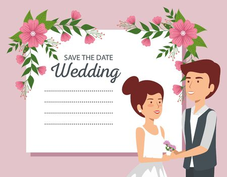 wedding card with couple and flowers plants vector illustration