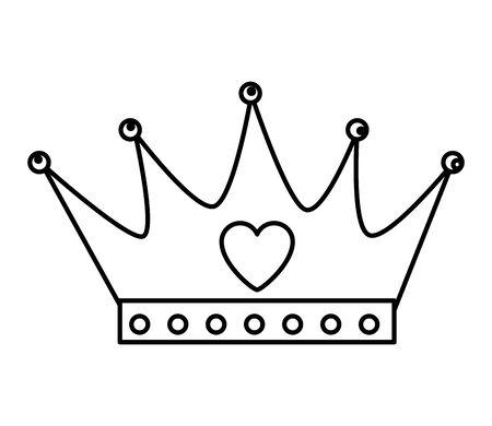crown queen with heart icon vector illustration design Ilustração