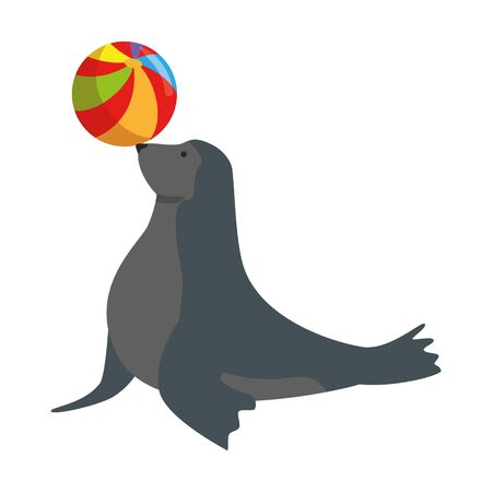 circus seal marine playing with balloon vector illustration design
