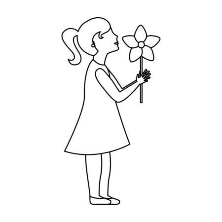 Girl with flower over white background, vector illustration Illustration