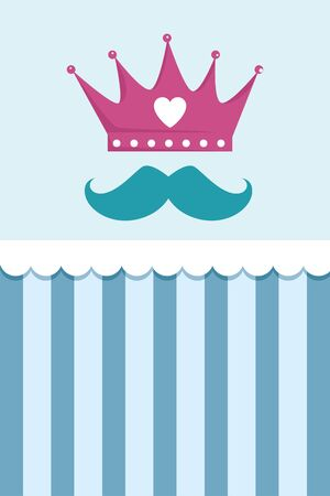crown with heart and mustache vector illustration design
