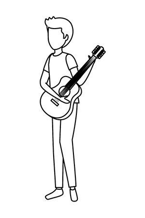 giovane, suonare, chitarra, strumento, vettore, illustrazione, design