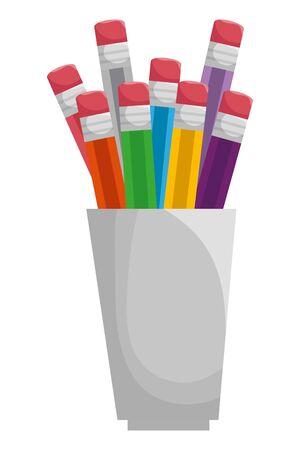 set of colors pencils school in holders vector illustration design