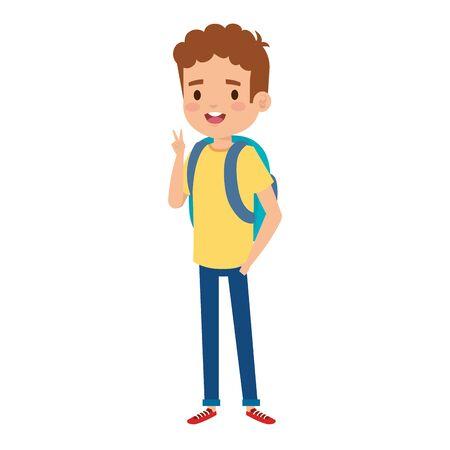 happy little boy with school bag vector illustration design