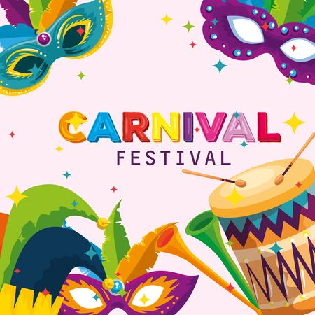 carnival mask with feathers and joker hat decoration with drum vector illustration