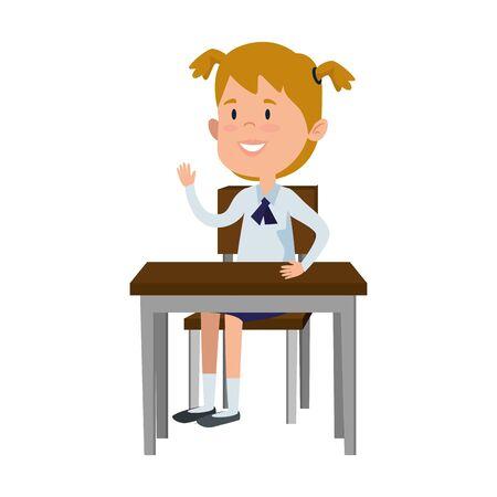 happy student girl seated in school desk vector illustration design Archivio Fotografico - 125781944