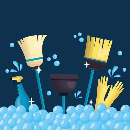 plunger spray broom gloves bubbles spring cleaning tools vector illustration