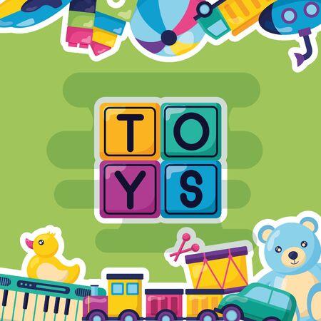 kids toys bear drum duck train ball car poster vector illustration Illusztráció